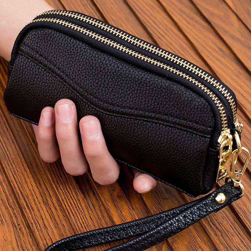2018新款双拉链手拿包女式时尚小手包手机包零钱包简约女包手抓包