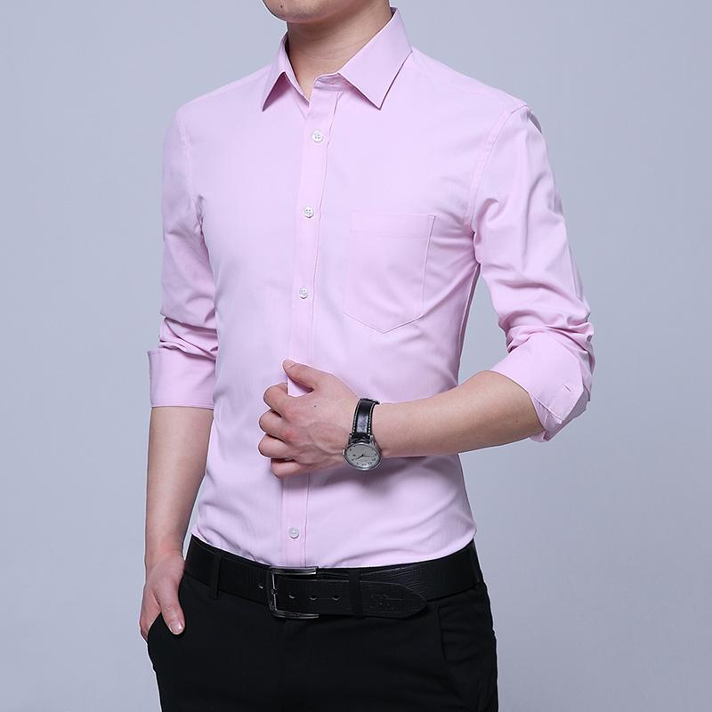 夏季英伦简约百搭青年男士长袖衬衫韩版修身时尚休闲免烫衬衣潮流