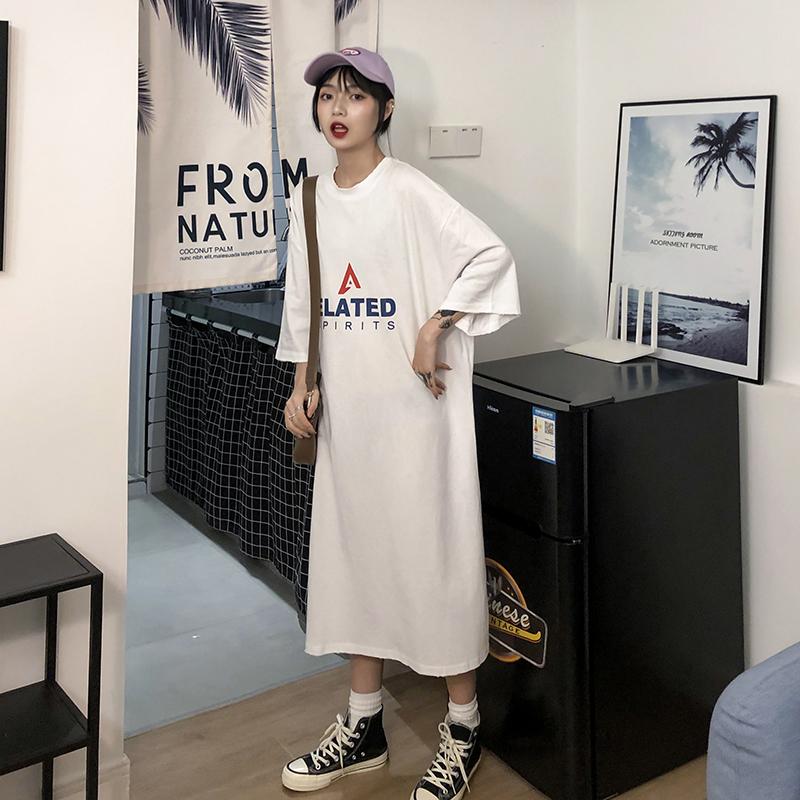 实拍实价 2019春夏新品韩版显瘦字母印花中长款T恤连衣裙女