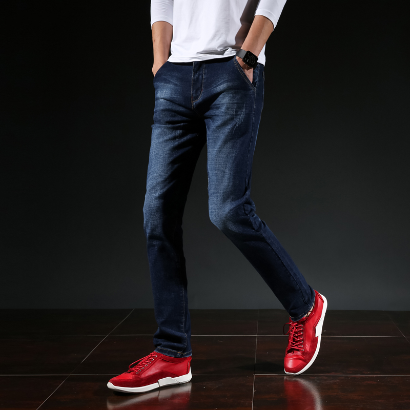 Elastic diagonal insert jeans mens straight pants business leisure Korean version slim mens long pants four seasons men