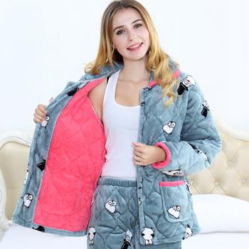 睡衣女冬季三层加厚夹棉睡衣法兰绒珊瑚绒可外穿大码棉袄保暖睡衣