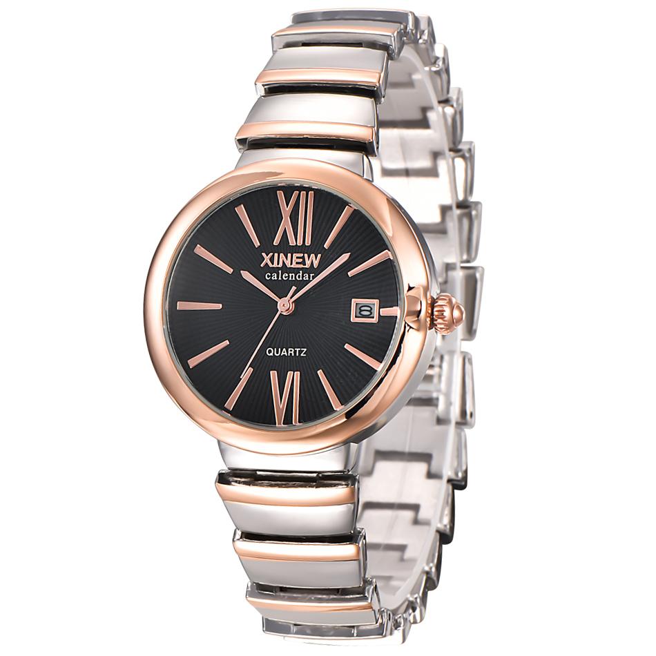 Xinew stainless steel snake belt fashion womens watch luxury calendar Roman character quartz watch genuine