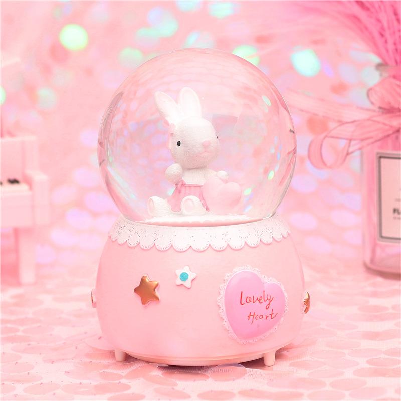圣诞节小兔雪花水晶球女女孩音乐盒热销4件五折促销