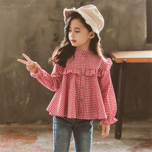 小女孩格子衬衫洋气公主春秋纯棉花边泡泡袖上衣女童长袖薄款衬衣