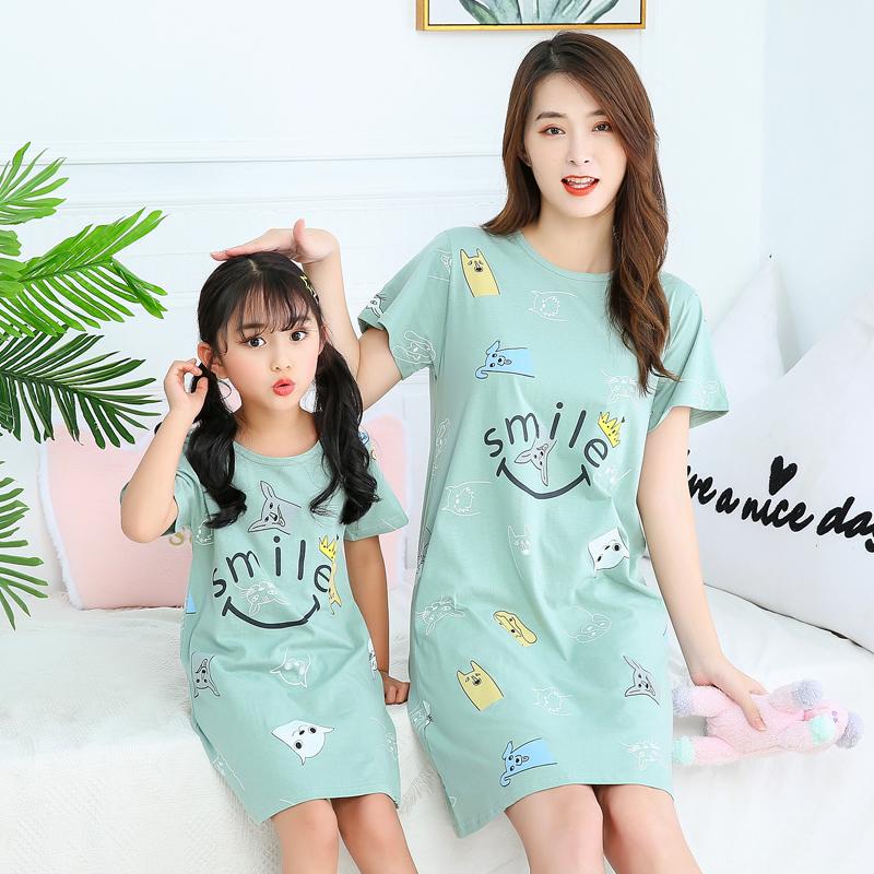 女童纯棉睡裙亲子宝宝薄款夏季裙子女孩母女连衣裙儿童短袖睡衣裙