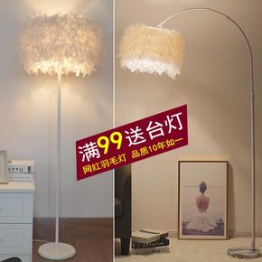 灯饰网红白色羽毛水晶立式落地灯客厅书房卧室床头台灯主播补光灯