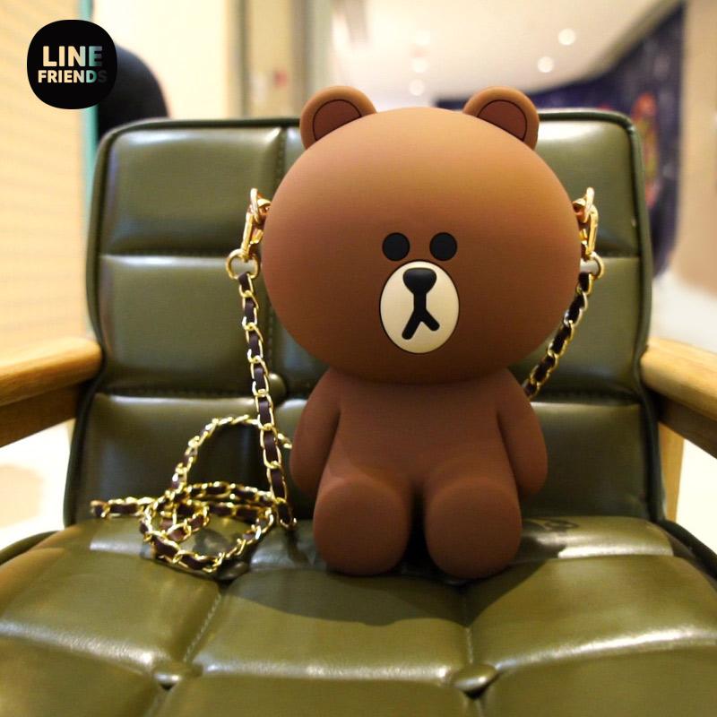 linefriends正版布朗熊零钱斜挎包