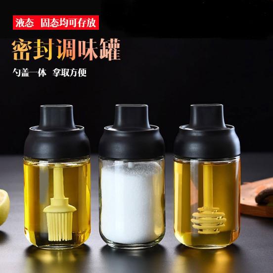 厨房调味盒防潮调料罐密封玻璃调味瓶盖勺一体控盐罐油壶调味罐