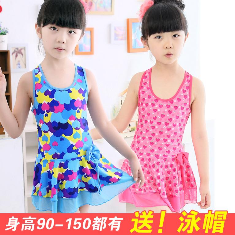 泳衣裙式連體中大女童寶寶韓國泳裝童裝小大童幼兒童可愛3歲12歲
