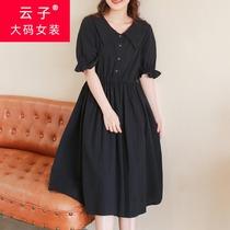 胖妹妹夏装复古暗黑大方领连衣裙 加大码2021新款收腰长裙200斤女