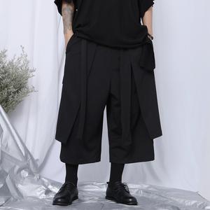 原创日系八分裤男宽松直筒休闲裤山本风暗黑不规则设计坠感阔腿裤
