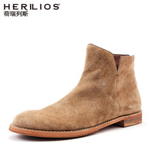 Horiles English casual shoes Male tall mercerized suede leather Chelsea boots trend Martin boots Male
