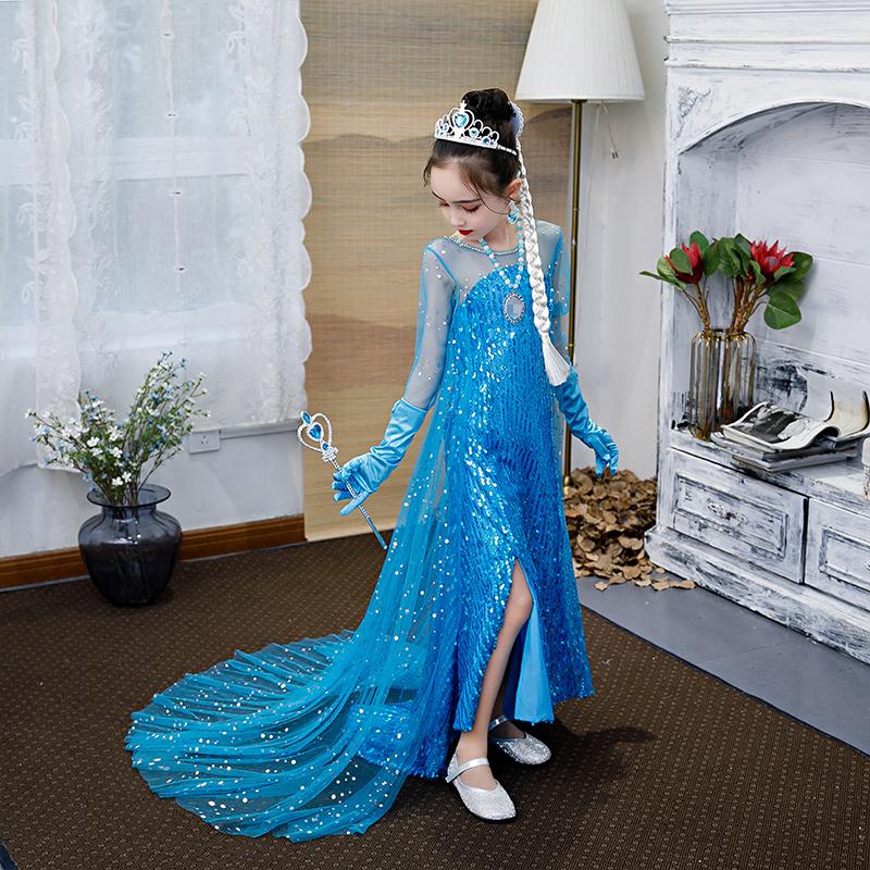 艾莎正版冰雪奇缘公主裙夏季连衣裙女童艾莎公主裙儿童夏爱沙夏季