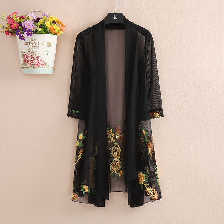 Middle aged and elderly embroidered cardigan thin coat womens fat plus size sunscreen mesh shawl with long style in summer