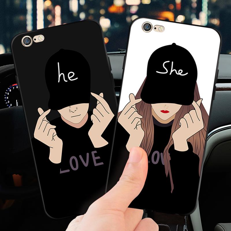 日韩iPhoneX手机壳苹果6s磨砂软套7plus比心男女8p时尚情侣6sp潮