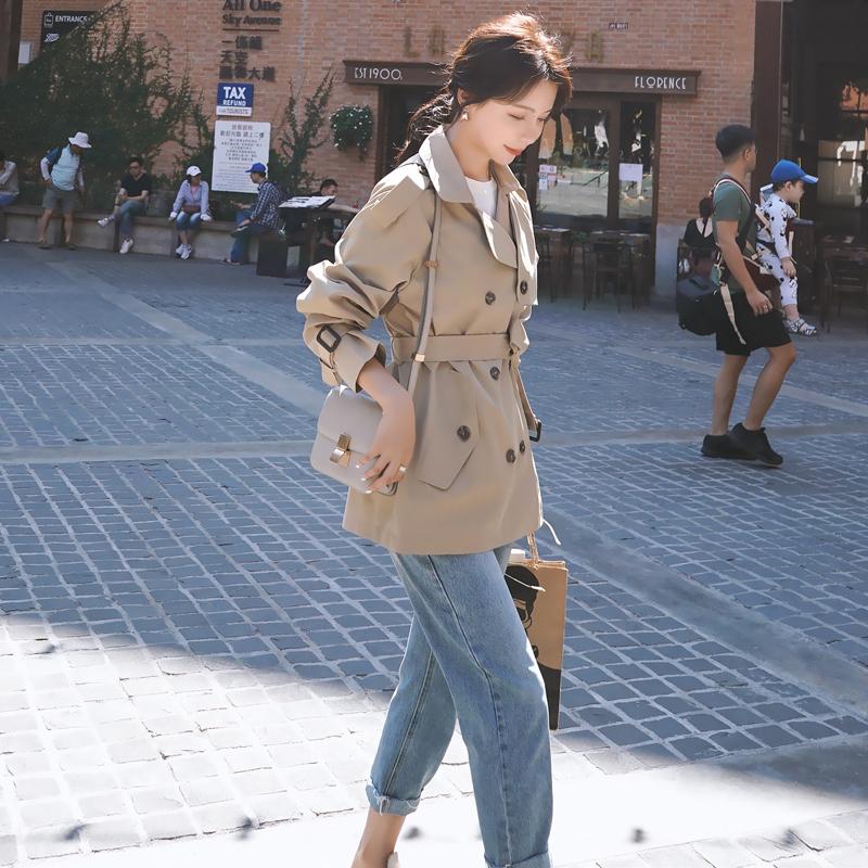 短款风衣女小个子矮中款显高2020秋季新款韩版宽松系带短外套春秋