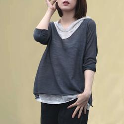 韩版拼接假两件连帽t恤女薄款卫衣春秋装长袖针织打底衫亚麻上衣