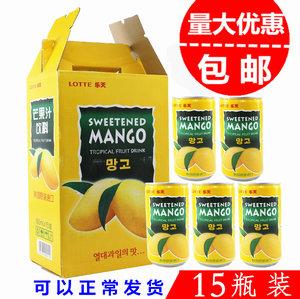 韩国进口饮料网红饮料整箱LOTTE乐天芒果汁饮品180ml/*15听1盒