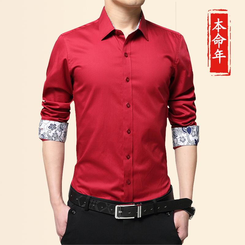 秋天大红色衬衫衣男长袖薄款纯棉大码忖衣演出服本命年红衬衣男装