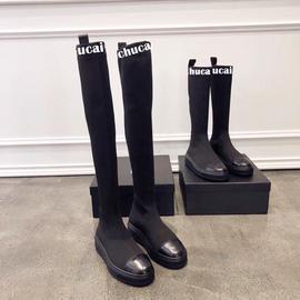 2020秋冬新款厚底瘦瘦靴平底圆头针织袜靴学生长筒靴黑色弹力靴子