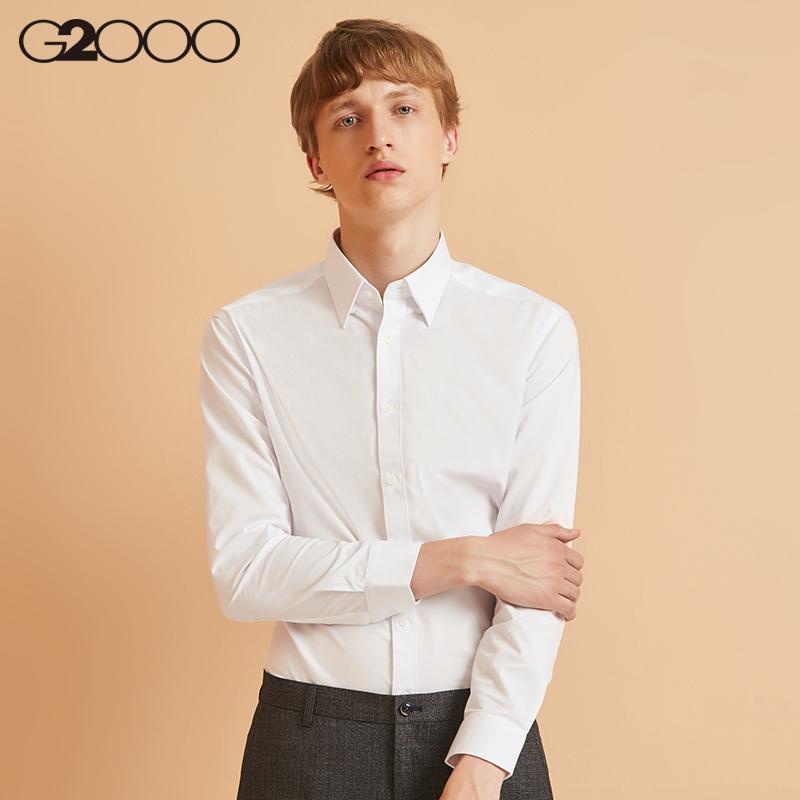 G2000白衬衫男长袖波点青年修身商务正装内搭打底休闲外套衬衣图片