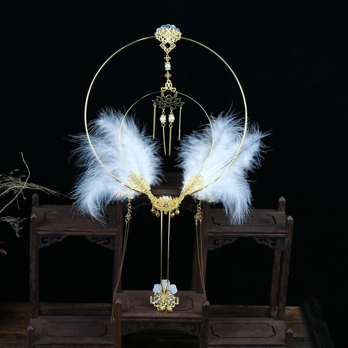 [feather wings] ancient style, original handwork, Hanfu ornament, Lolita, accessories, feather fan, hollow flower, fan girl