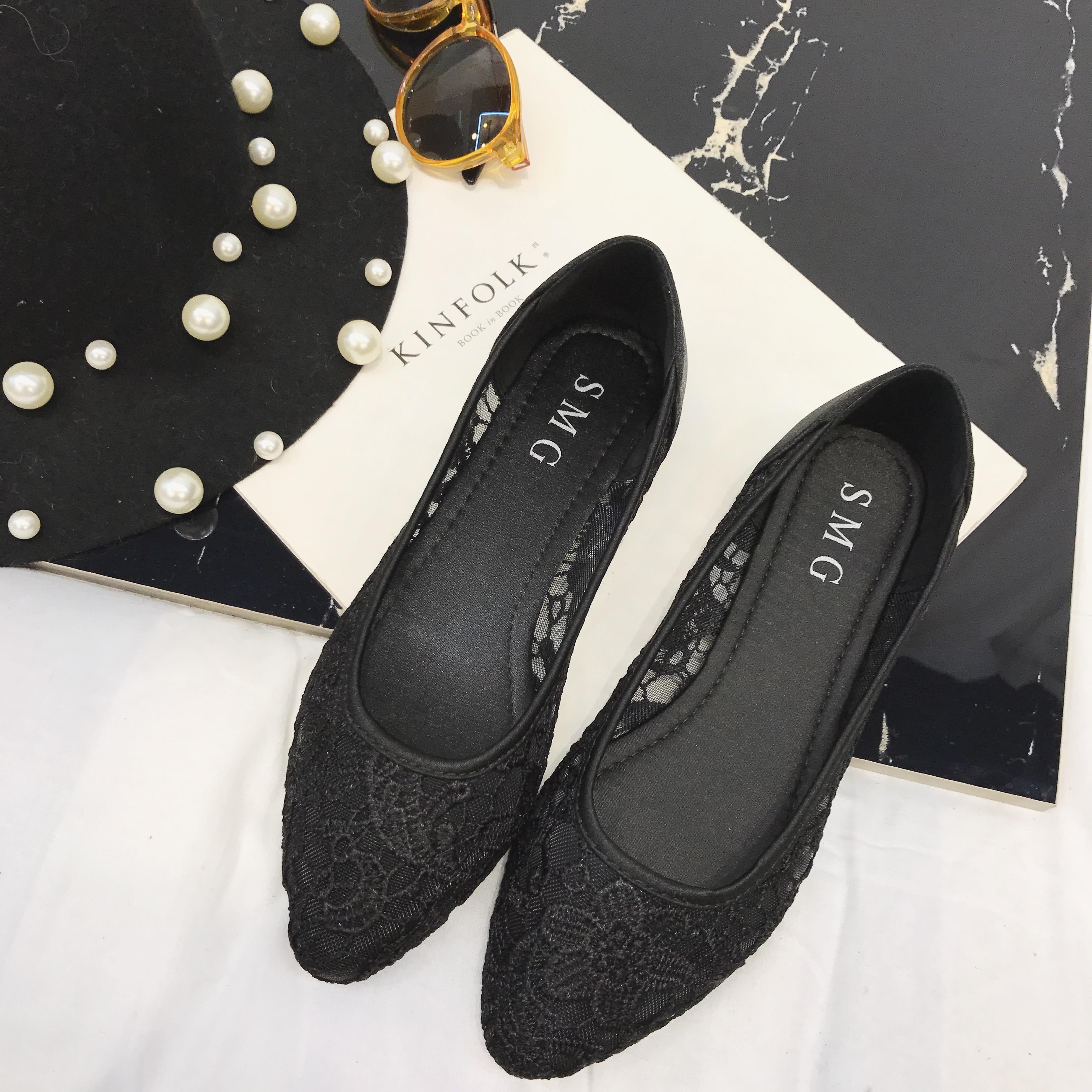 包邮欧美夏新款黑色平底瓢鞋黑色船鞋大码单鞋蕾丝镂空女鞋网纱鞋