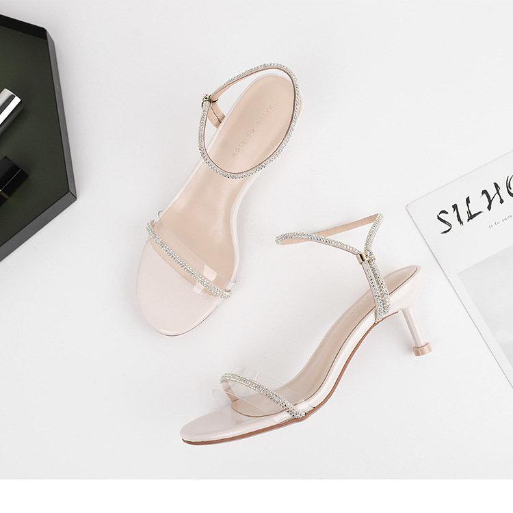女鞋 细跟高跟6.2cm高跟凉鞋女2020夏季时尚水钻丝绸圆头休闲凉鞋
