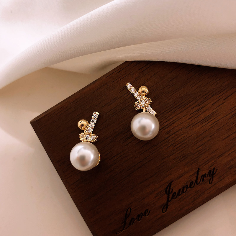 925 silver needle bow Pearl Earrings simple temperament small earrings 2020 new fashion earrings earrings
