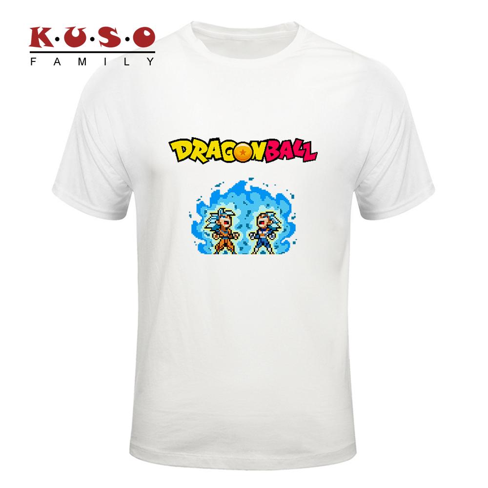 2018夏季新款 像素风 七龙珠超悟空贝吉塔超蓝赛亚人 创意印花T恤