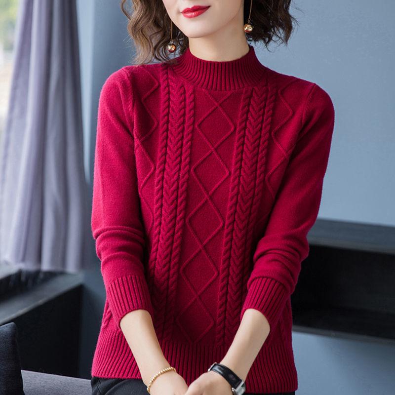 秋冬装半高领毛衣女宽松加厚2020新款时尚套头洋气打底中领针织衫