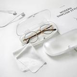 文艺简约白色磨砂半透明吸铁扣眼镜盒抗压耐磨学生近视眼镜盒超轻