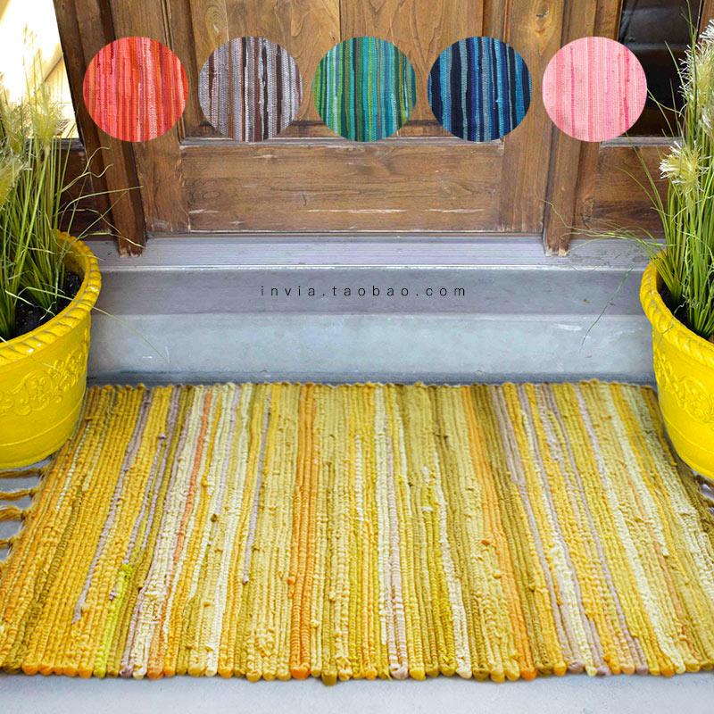 黄咖红彩手工地毯民族波西米亚吸水地垫门垫脚垫厨卧卫生浴室门口限99999张券