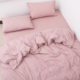 老顾客一定来!裸睡双拼纯棉简约三件套床单被套 纯色全棉四件套