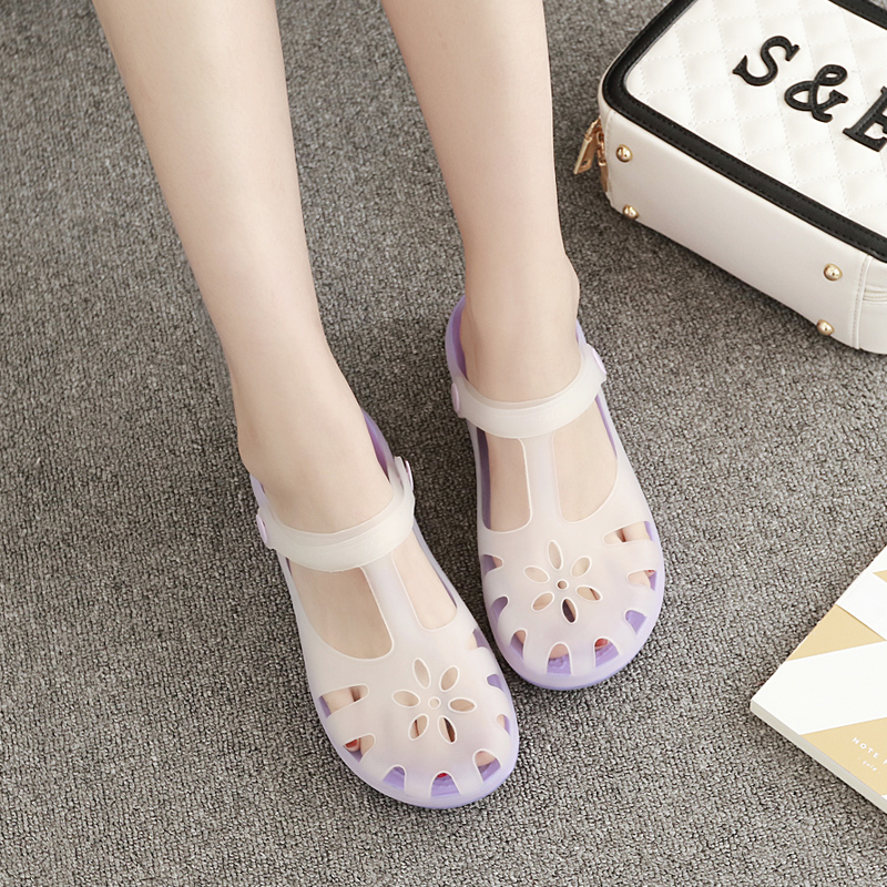 Cave shoes female summer plastic sandals beach shoes antiskid thick sole slope heel color changing Baotou student jelly shoes garden shoes