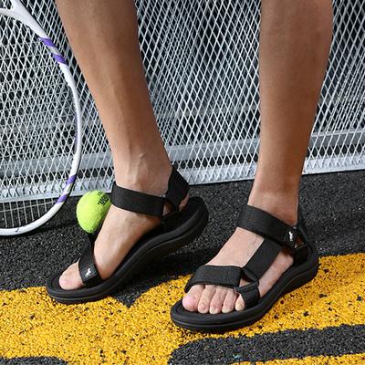 2019新款罗马凉鞋男越南厚底运动休闲防滑男士黑色潮流简约沙滩鞋