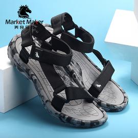 新款罗马迷彩男士运动凉鞋魔术贴沙滩鞋透气防滑防臭休闲户外潮流