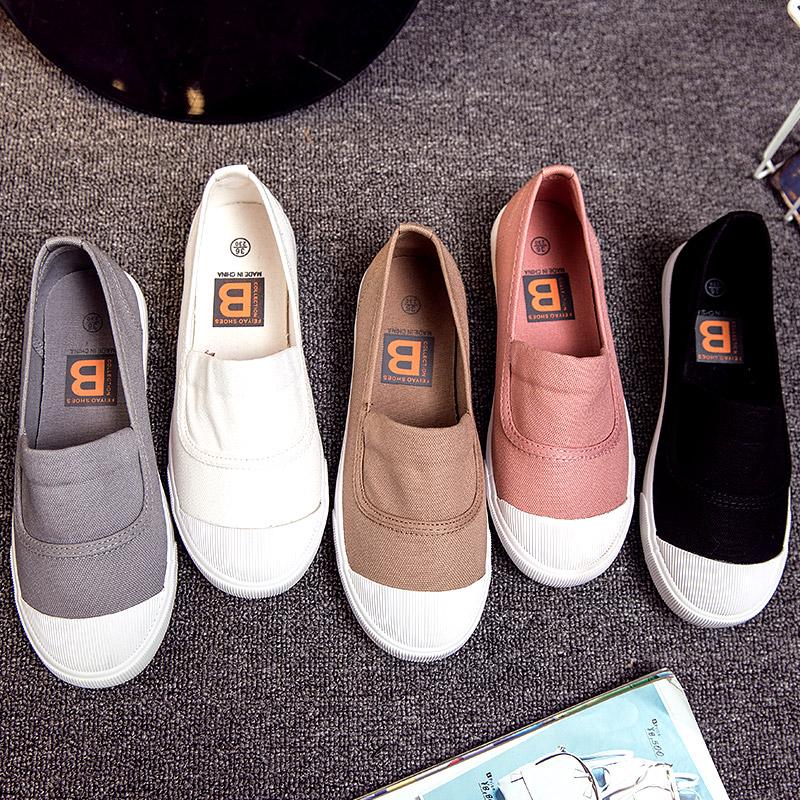 小白鞋女帆布鞋夏季2018新款百搭韩版学生平底懒人一脚蹬浅口布鞋