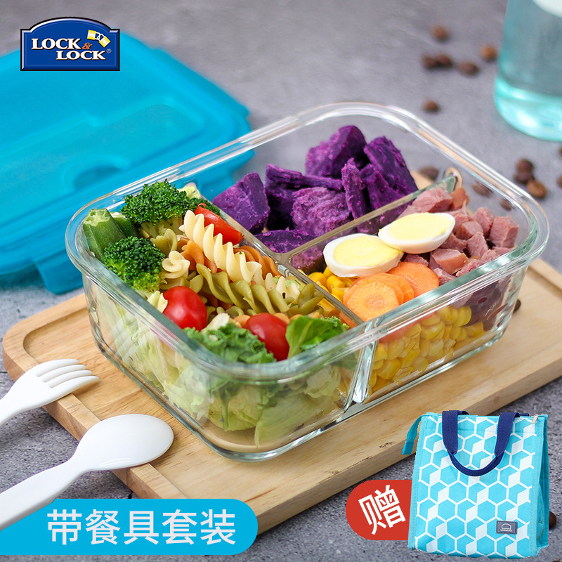 乐扣乐扣耐热玻璃保鲜盒旗舰店分格水果便当微波炉分隔学生带饭盒