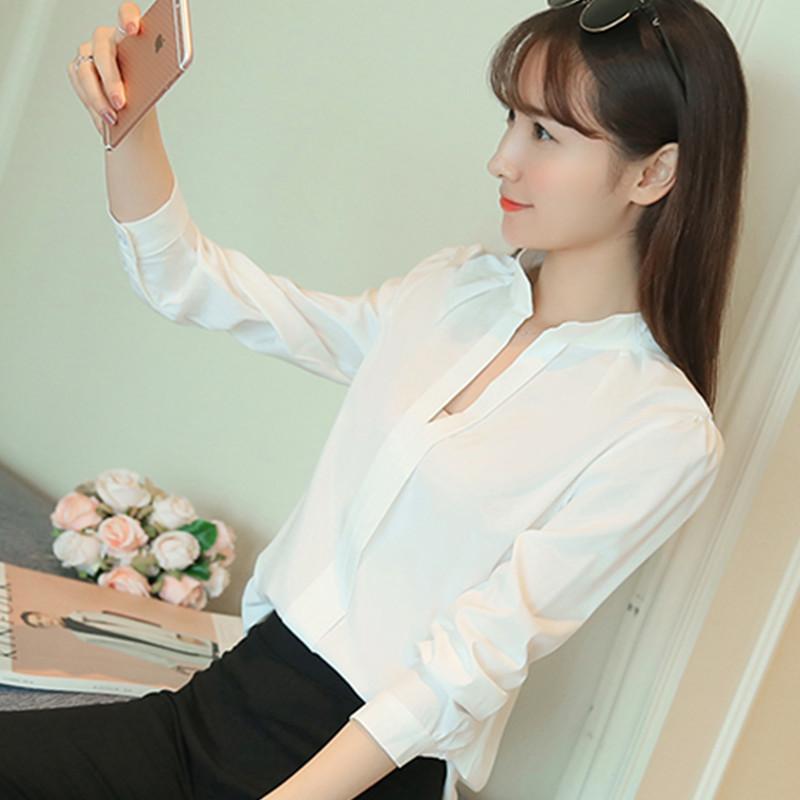 2016 годы Хань вентилятор белая рубашка женская длинный рукав рубашки шифон профессиональных рубашку v шеи тонкая Джокер дна рубашки