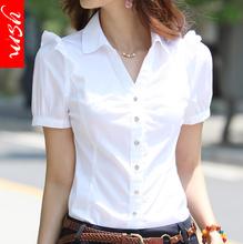 夏季V領職業襯衫女裝正裝短袖襯衫工裝女韓版白領工作服白襯衣女