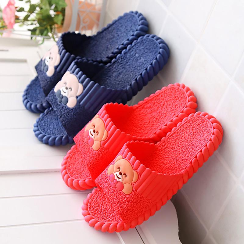 红女款拖鞋夏季凉拖鞋塑料洗澡室内家用外穿家居男女韩版可爱小熊