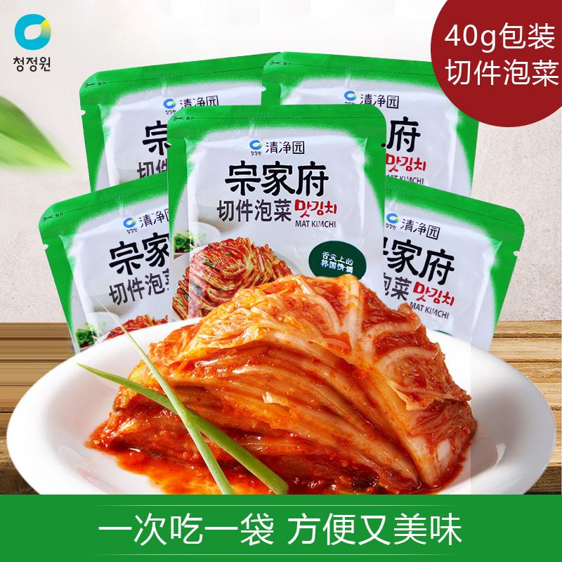 宗家府切件泡菜正宗韩国口味辣白菜清净园东北延边下饭菜40g*5袋