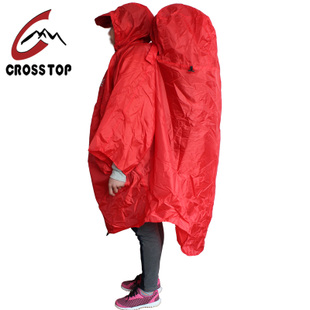 Crosstop outdoor Siamese raincoat lightweight raincoat lightweight mountaineering Caulking anti heavy rain poncho with rain cover