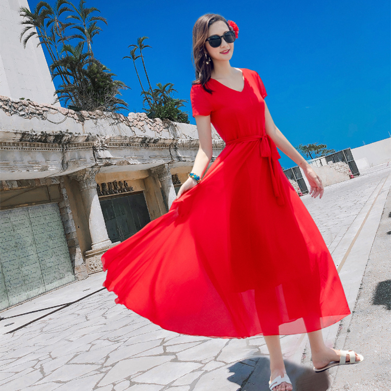 短袖连衣裙女三亚红色收腰显瘦中长款海边旅游浪漫日光雪纺沙滩裙