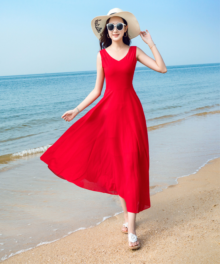 2018新款夏季无袖雪纺连衣裙波西米亚长裙气质修身海边度假沙滩裙
