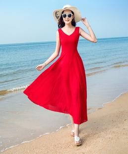2019新款夏季无袖雪纺连衣裙波西米亚长裙气质修身海边度假沙滩裙