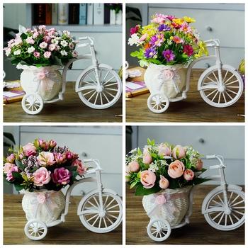 客厅绢花塑料车套家居盆栽干花束