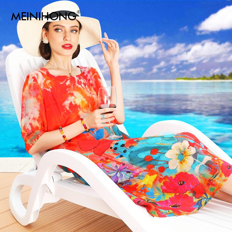 2019夏季新款中长款过膝宽松印花裙子桑蚕丝高端大牌真丝连衣裙女519.00元包邮