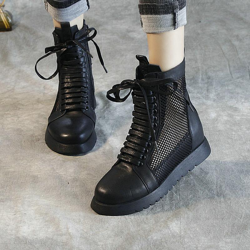 真皮马丁靴女夏季透气高帮女鞋镂空网纱厚底内增高短靴罗马凉靴